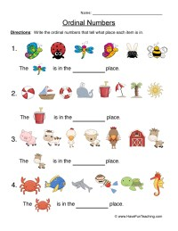 Ordinal Numbers Worksheet 6