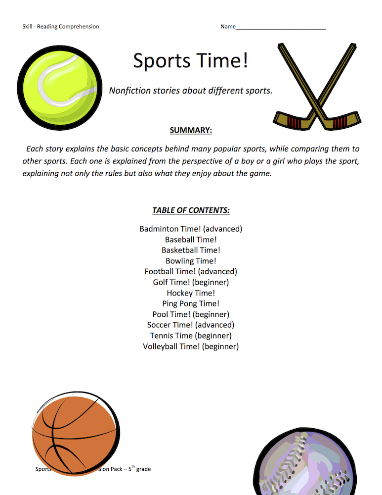 Sports Time Reading Comprehension Test Collection