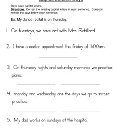 Capital Letters Days Sentences Worksheet • Have Fun Teaching [ 1294 x 1000 Pixel ]