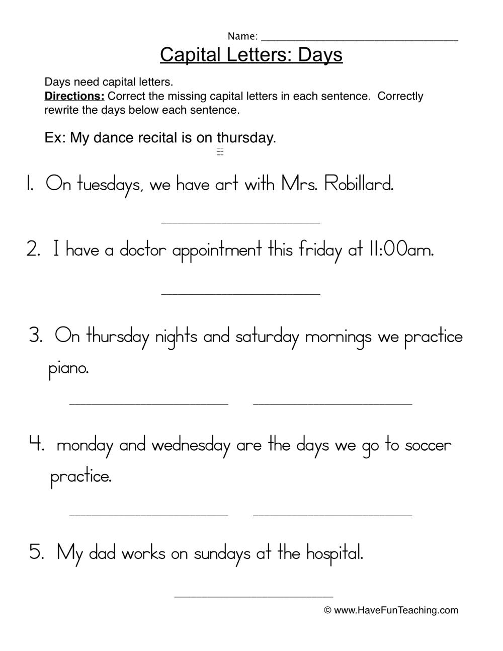 medium resolution of Capital Letters Days Sentences Worksheet • Have Fun Teaching