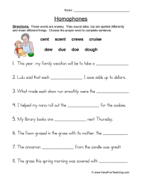 Homophone Worksheets To Print - Kidz Activities