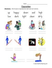 Opposites Worksheets | Have Fun Teaching