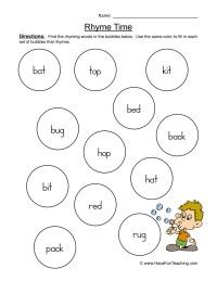 Free Kindergarten Rhyming Worksheets