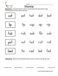 Rhyming Word Worksheet Free Worksheets Library