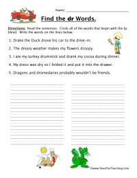 Consonant Blends Gl Worksheet