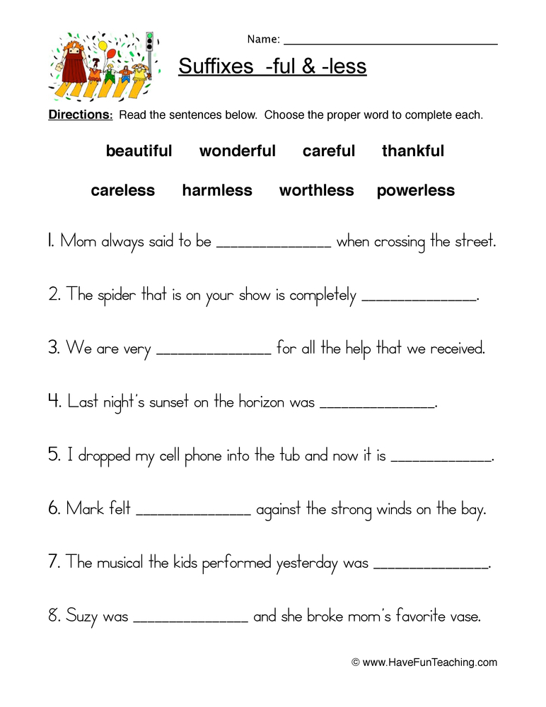 English Suffixes Worksheets Resources