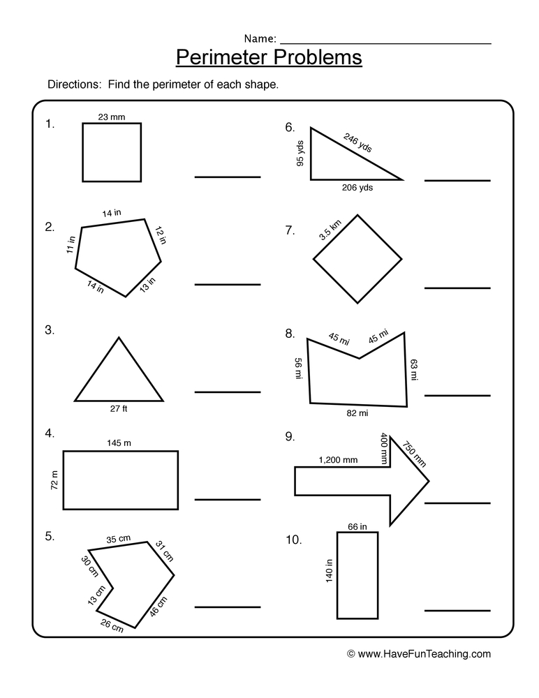 Perimeter Problems Worksheet 1