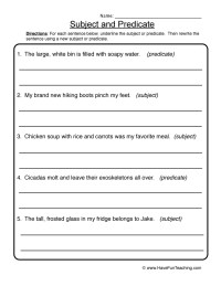 Subject and Predicate Worksheets | Have Fun Teaching