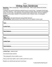 Topic Sentence Worksheets