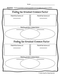 Greatest Common Factor Worksheet - Kidz Activities