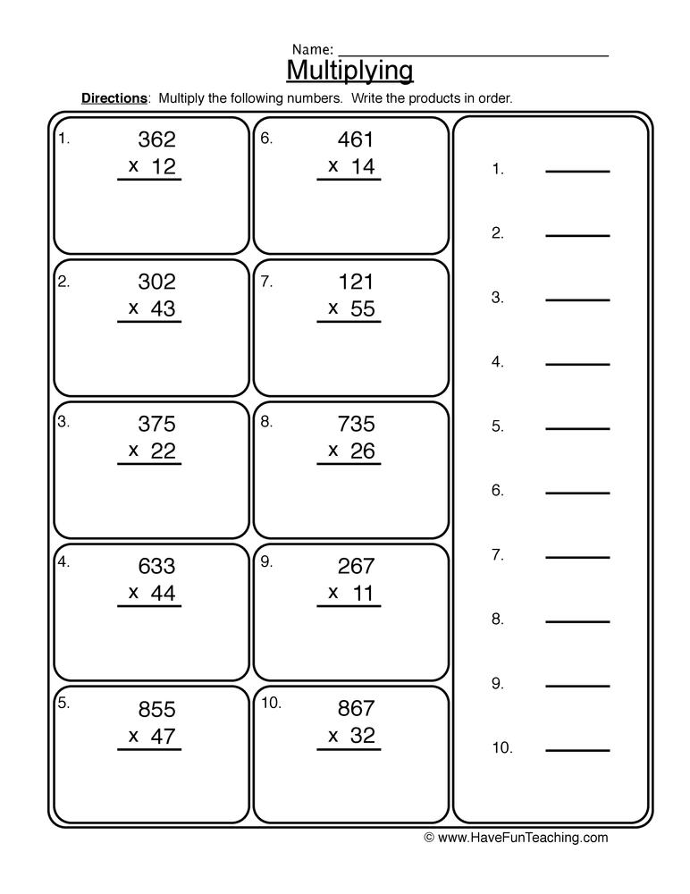 Multiplication 2 Digit By 2 Digit Worksheets Fun
