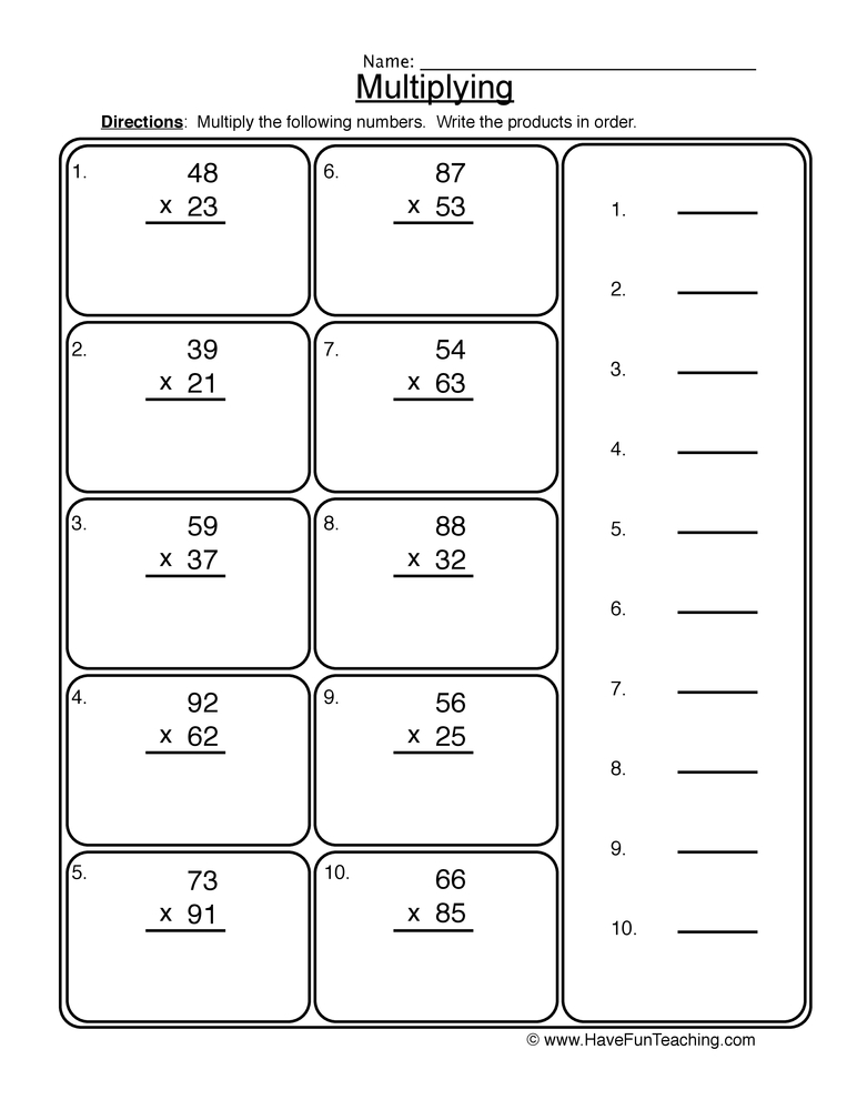 Multiplication 2 Digit Worksheet 2