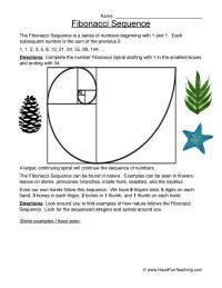 Fibonacci Sequence Worksheet Worksheets For School ...