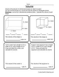 5th Grade Math Volume Worksheets - volume practice ...