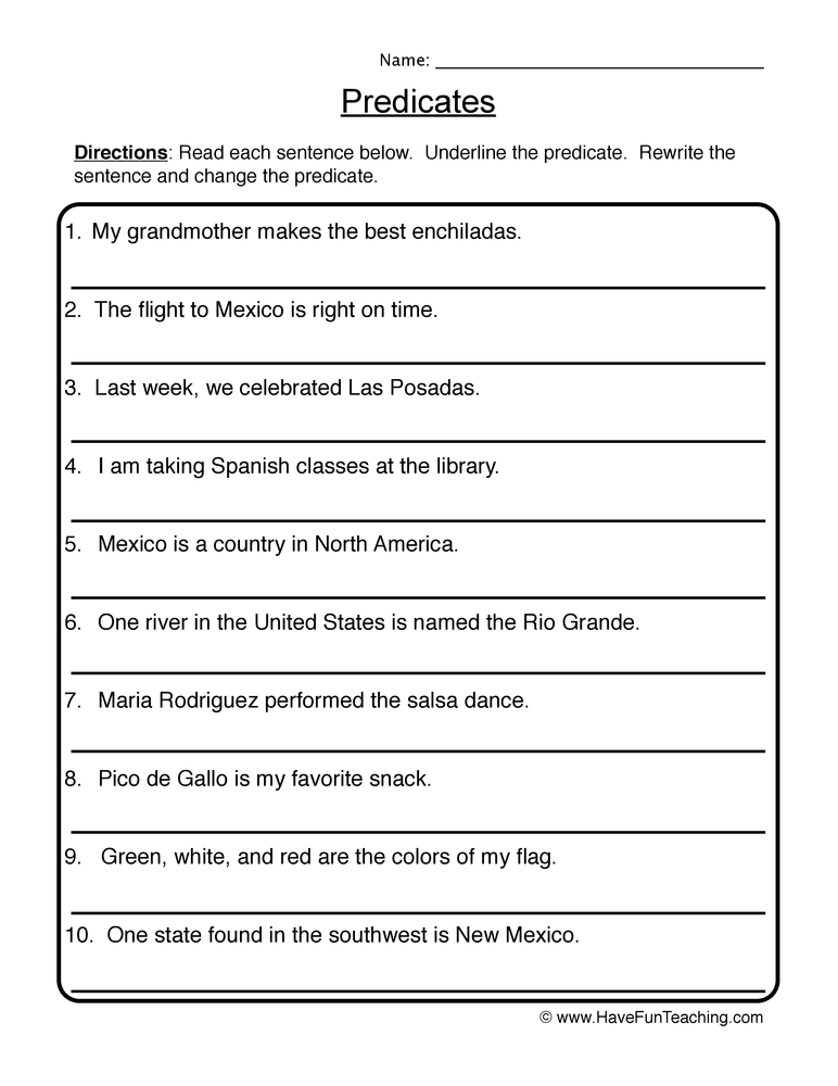 Grammar Worksheets Subject And Predicate