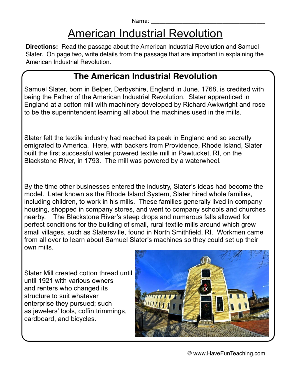 hight resolution of American Industrial Revolution Worksheet • Have Fun Teaching
