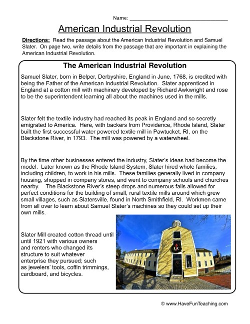 small resolution of American Industrial Revolution Worksheet • Have Fun Teaching