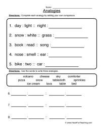 Analogy Worksheets | Have Fun Teaching