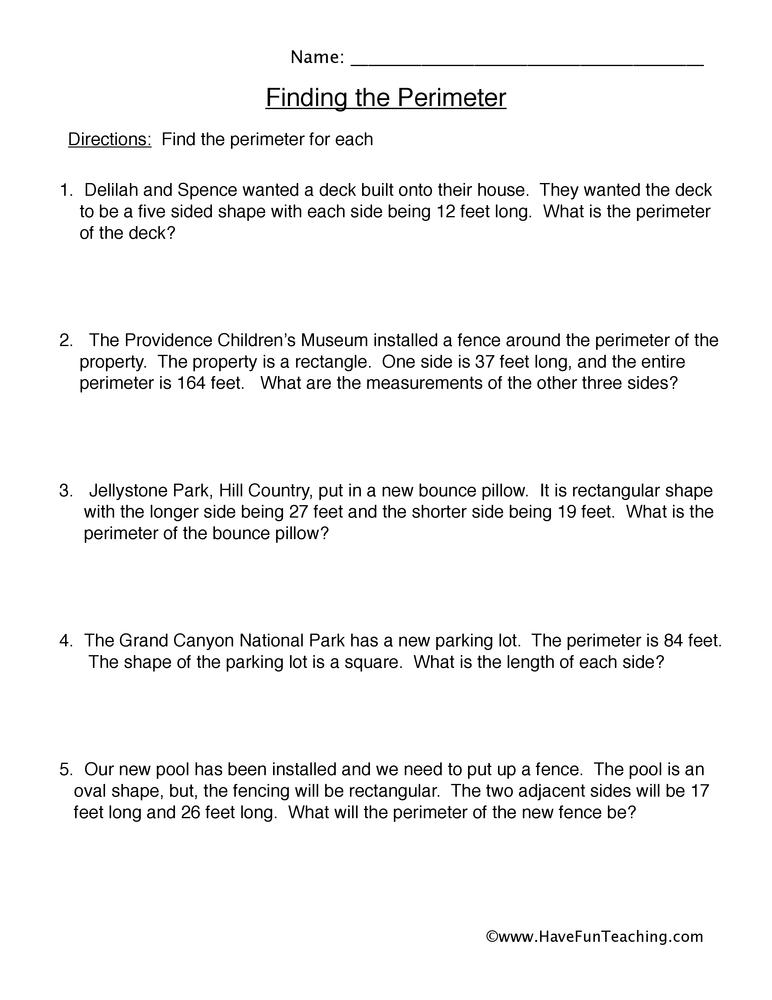 Perimeter Worksheet 2