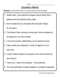 Quotation Marks Worksheet 1