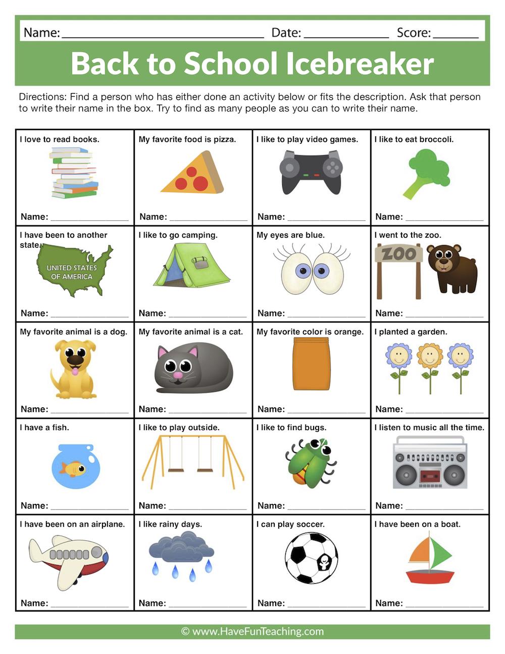 medium resolution of Back to School Icebreaker Worksheet • Have Fun Teaching