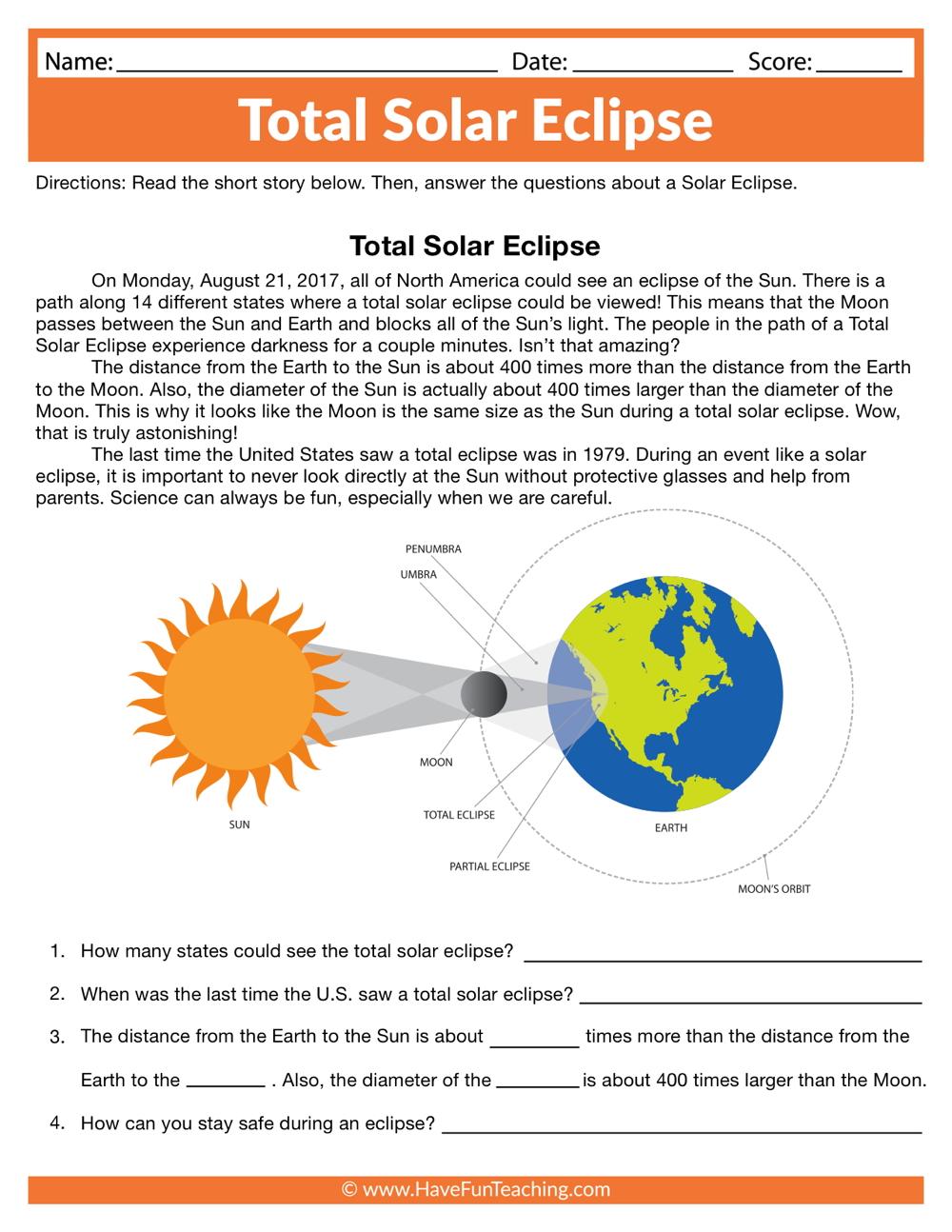 medium resolution of Total Solar Eclipse Worksheet • Have Fun Teaching