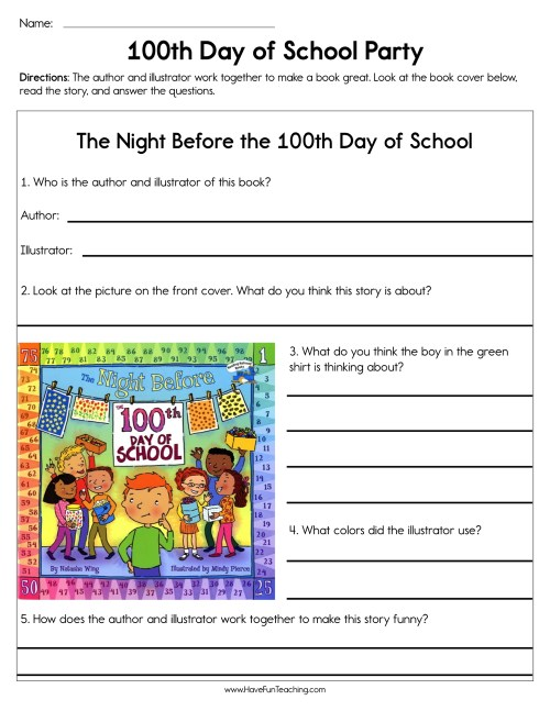 small resolution of 100th Day of School Party Worksheet • Have Fun Teaching