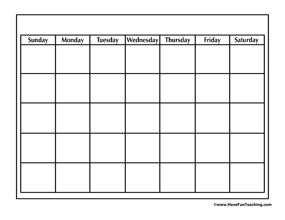 Adding more exercise to your routine may help boost your memory, accordin. Blank Calendar • Have Fun Teaching
