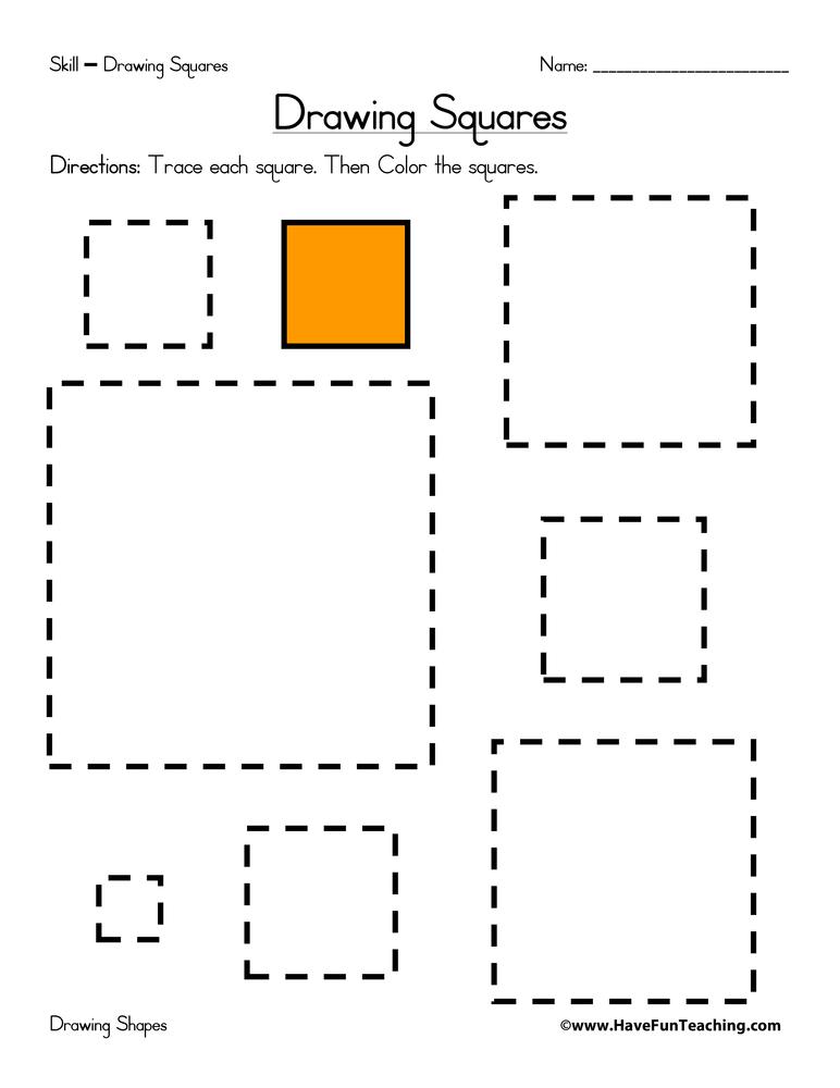 Drawing Squares Worksheet • Have Fun Teaching