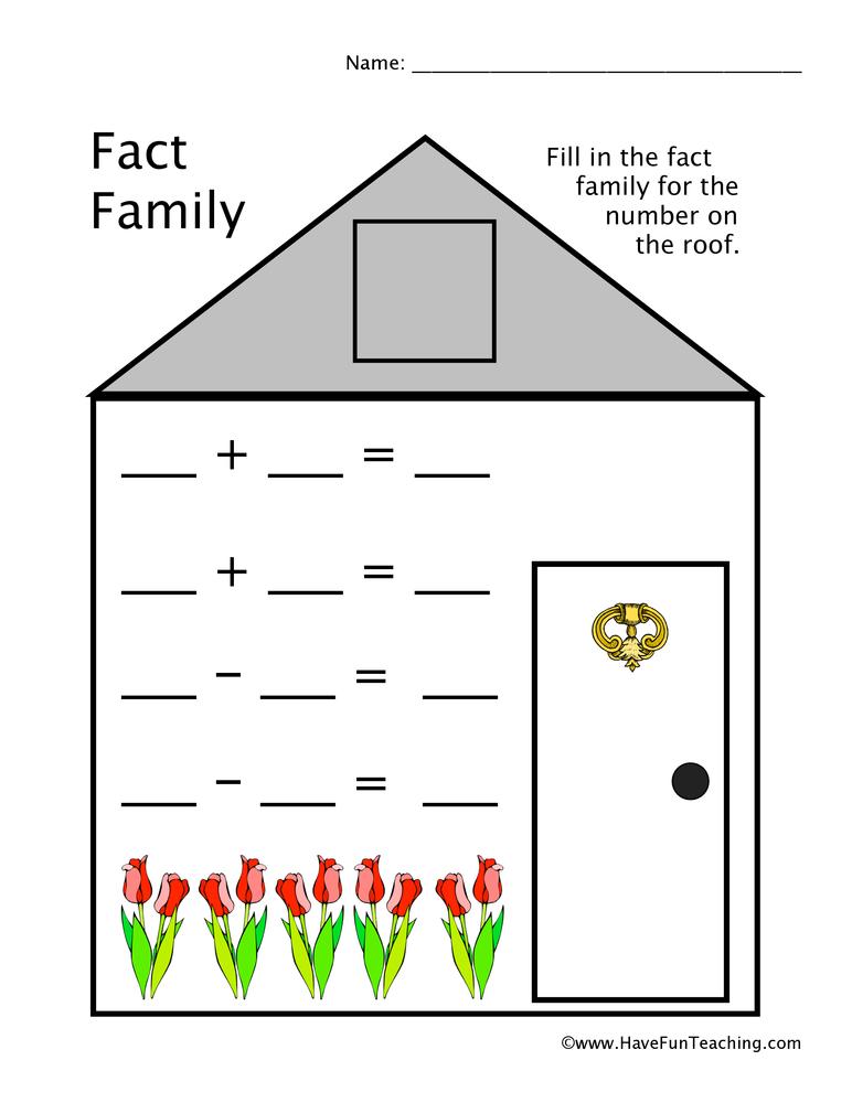 Fact Family Worksheet • Have Fun Teaching