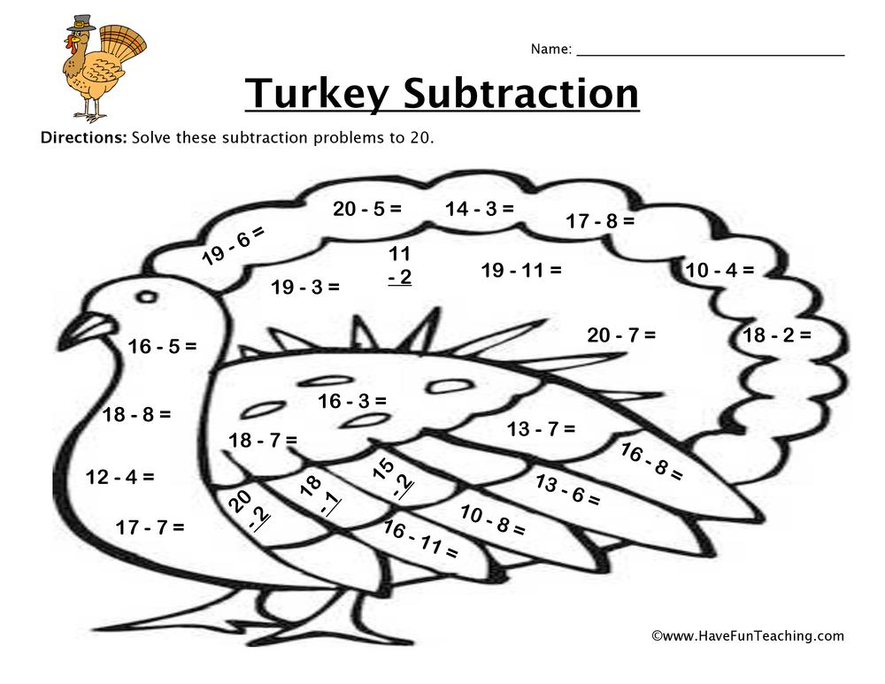 Thanksgiving Turkey Subtraction Worksheet • Have Fun Teaching