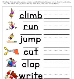 A Verb is an Action Word Worksheet • Have Fun Teaching [ 1294 x 1000 Pixel ]