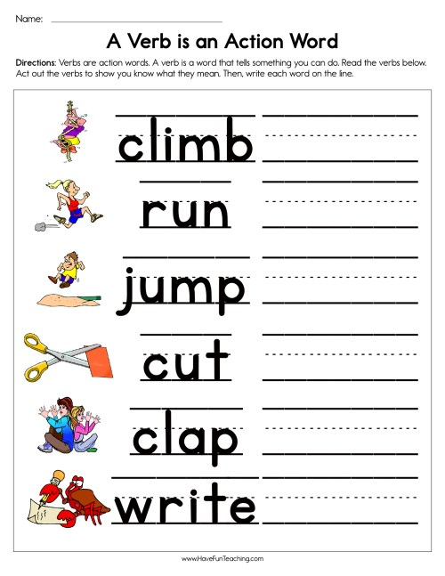 small resolution of A Verb is an Action Word Worksheet • Have Fun Teaching