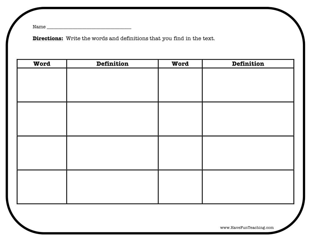 word and definition worksheet
