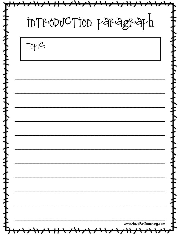 Writing An Introduction Paragraph Worksheet