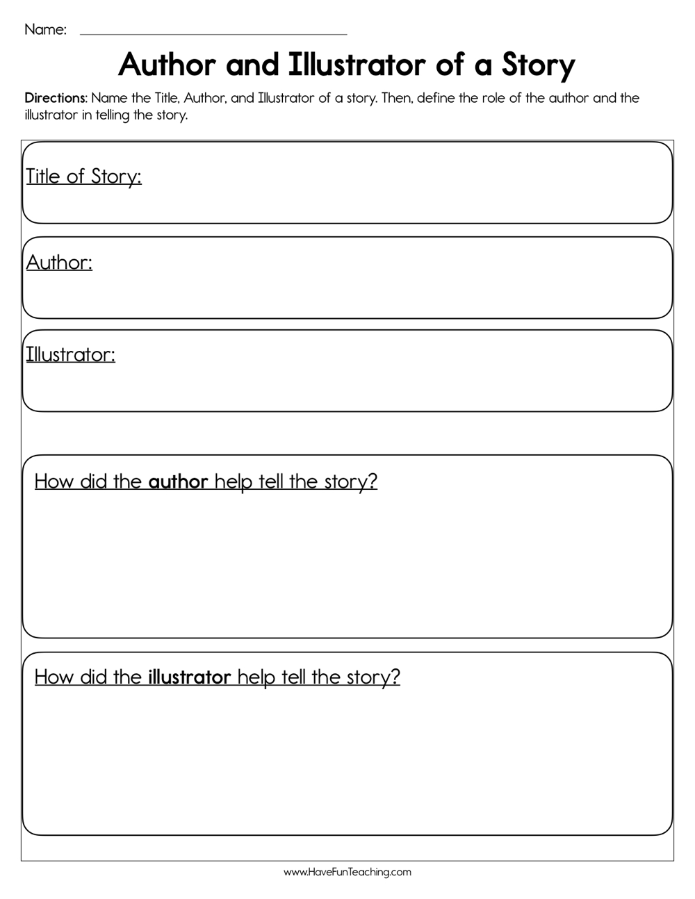 medium resolution of Author and Illustrator of a Story Worksheet • Have Fun Teaching
