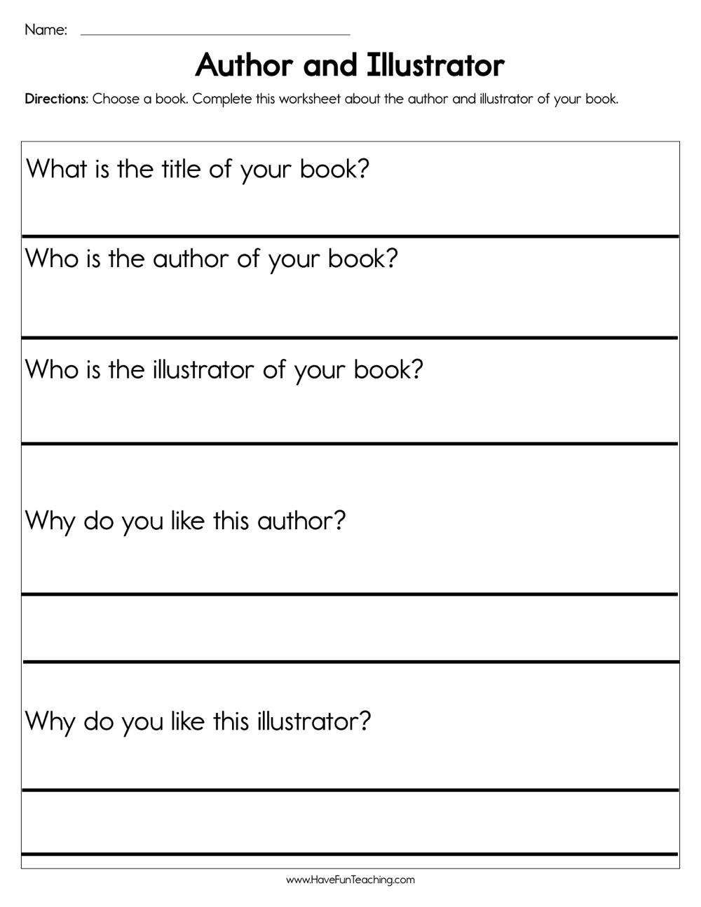 medium resolution of Author and Illustrator Worksheet • Have Fun Teaching