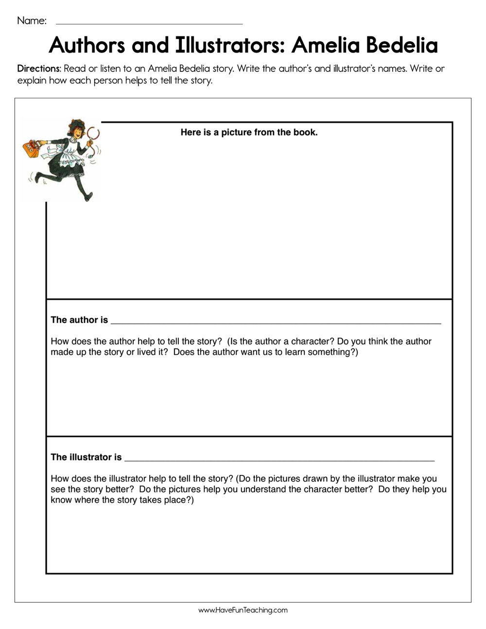 hight resolution of Amelia Bedelia Author and Illustrator Worksheet • Have Fun Teaching