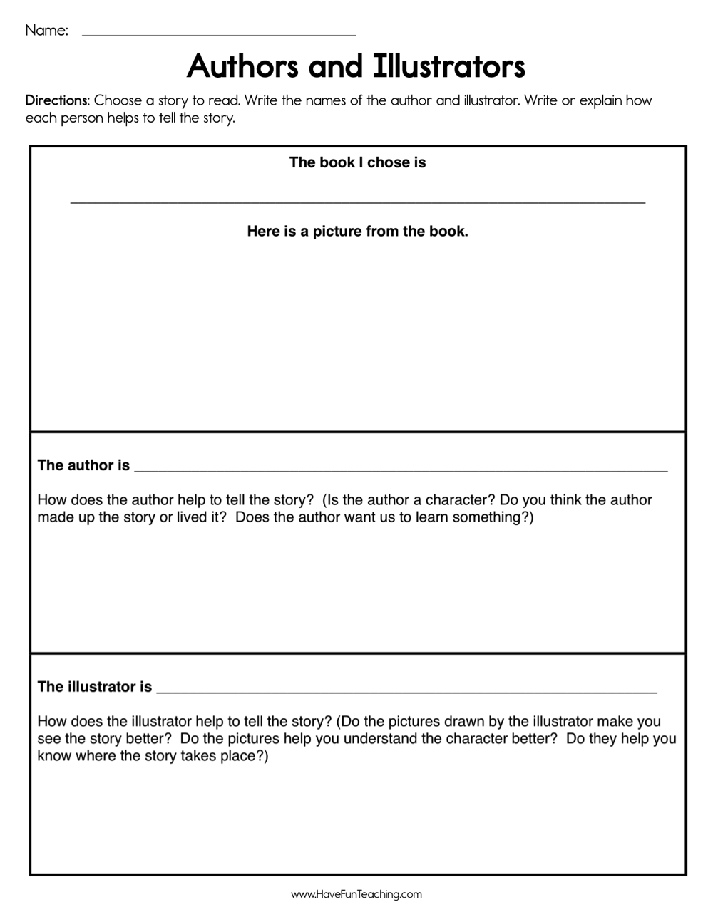 medium resolution of Author and Illustrators Worksheet • Have Fun Teaching