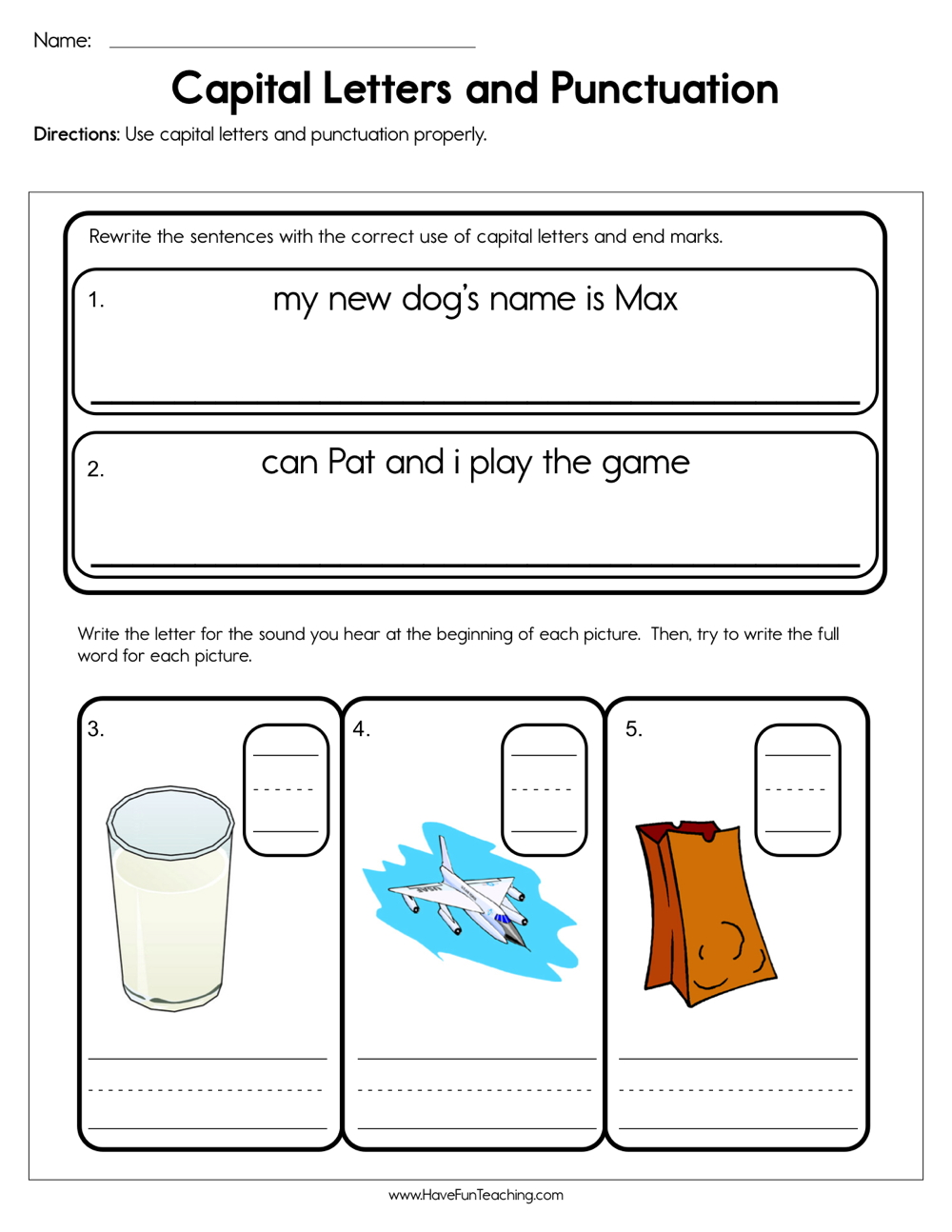 medium resolution of Capital Letters and Punctuation Worksheet • Have Fun Teaching