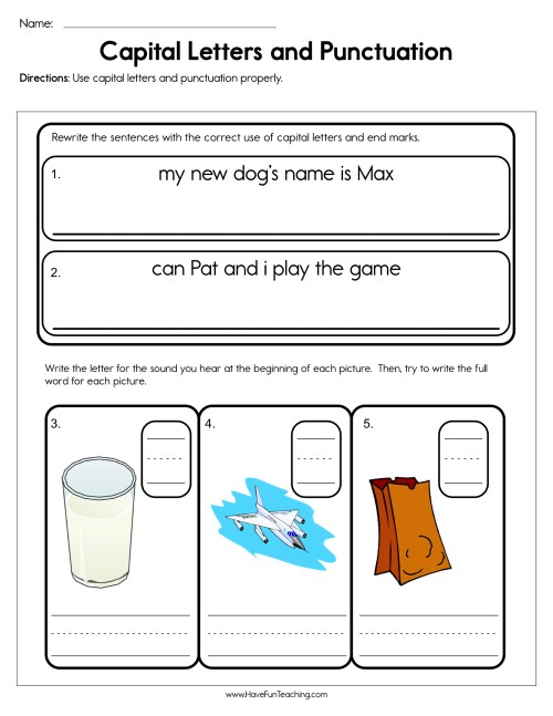 small resolution of Capital Letters and Punctuation Worksheet • Have Fun Teaching