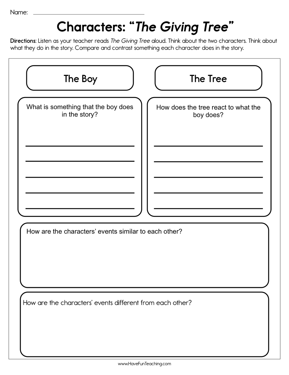 hight resolution of Characters The Giving Tree Worksheet • Have Fun Teaching