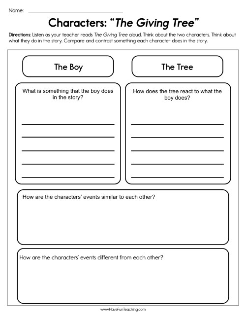 small resolution of Characters The Giving Tree Worksheet • Have Fun Teaching