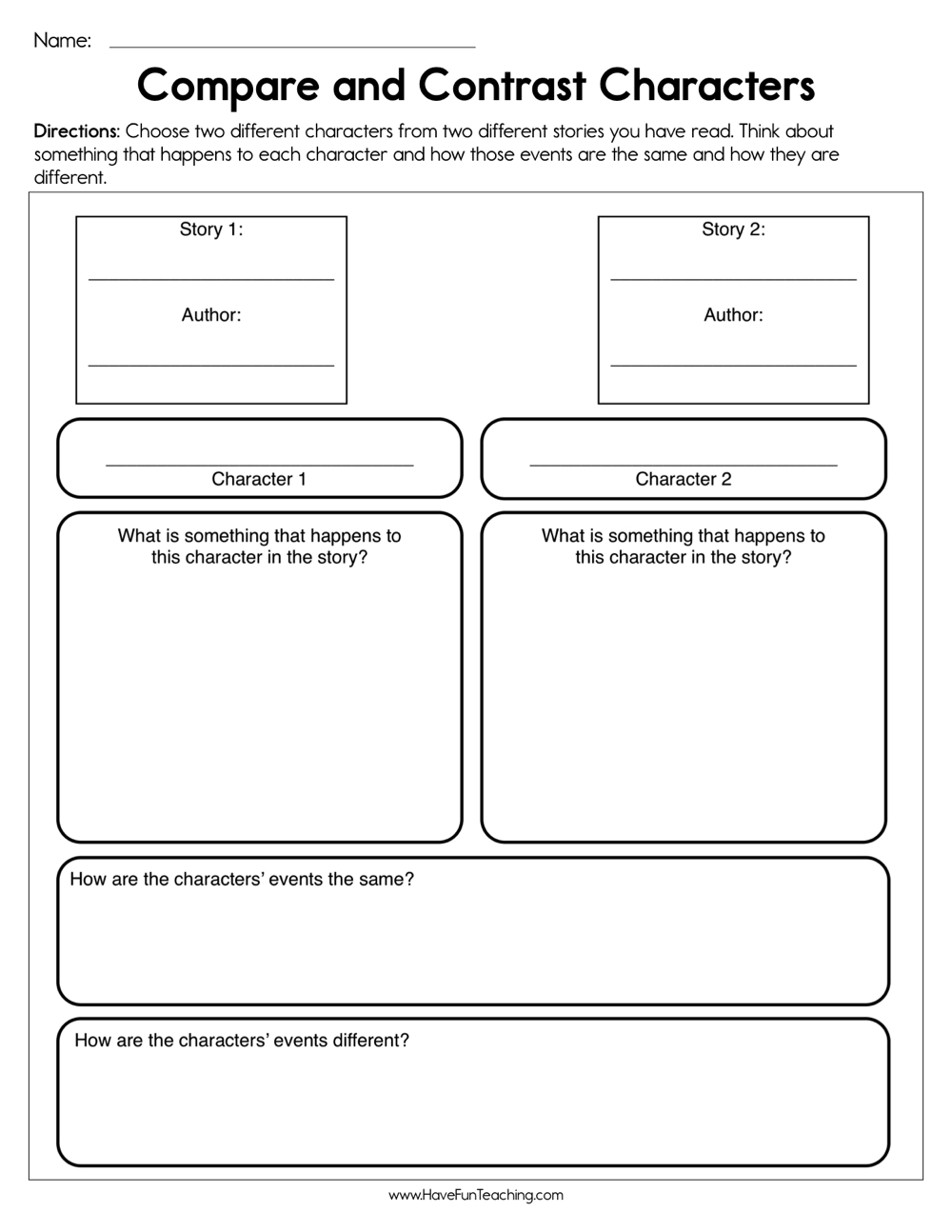 medium resolution of Compare and Contrast Characters Worksheet • Have Fun Teaching