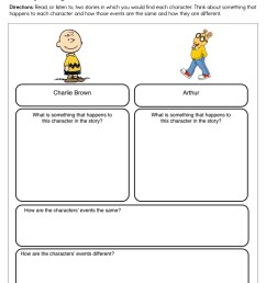 Compare and Contrast Characters Charlie Brown and Arthur Worksheet • Have  Fun Teaching [ 1294 x 1000 Pixel ]
