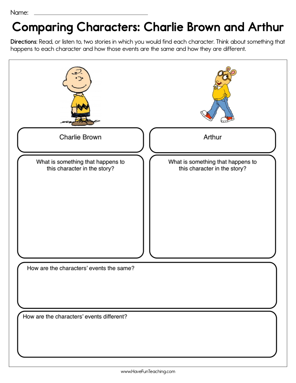 medium resolution of Compare and Contrast Characters Charlie Brown and Arthur Worksheet • Have  Fun Teaching