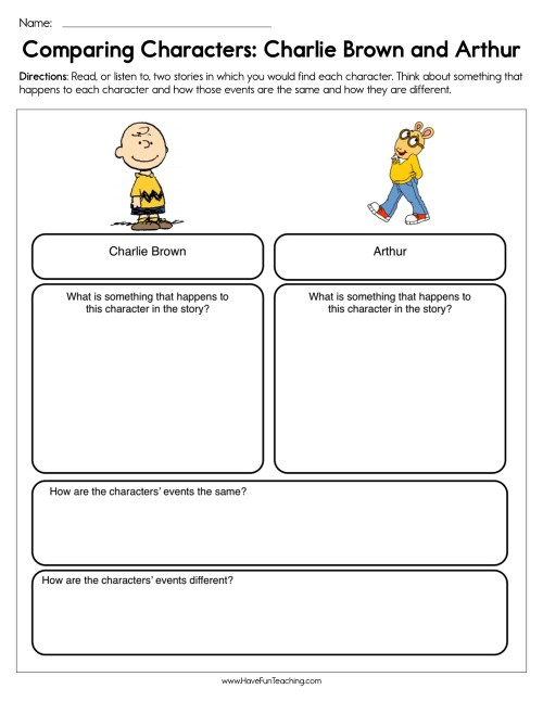 small resolution of Compare and Contrast Characters Charlie Brown and Arthur Worksheet • Have  Fun Teaching