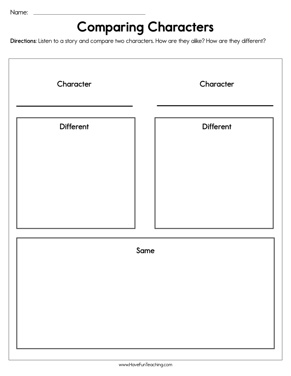 medium resolution of Comparing Characters Worksheet • Have Fun Teaching
