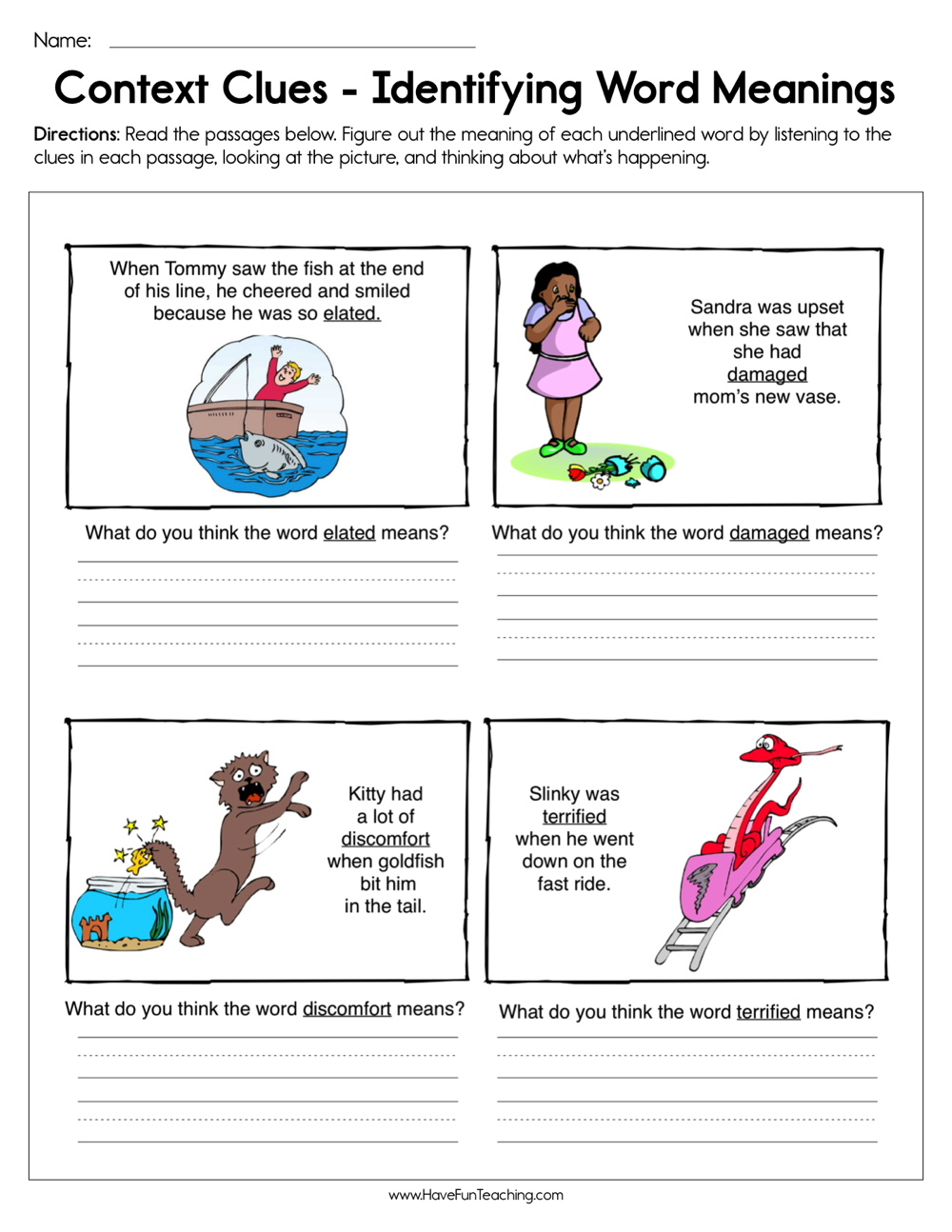 medium resolution of Context Clues Identifying Word Meaning Worksheet • Have Fun Teaching