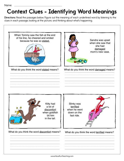 small resolution of Context Clues Identifying Word Meaning Worksheet • Have Fun Teaching